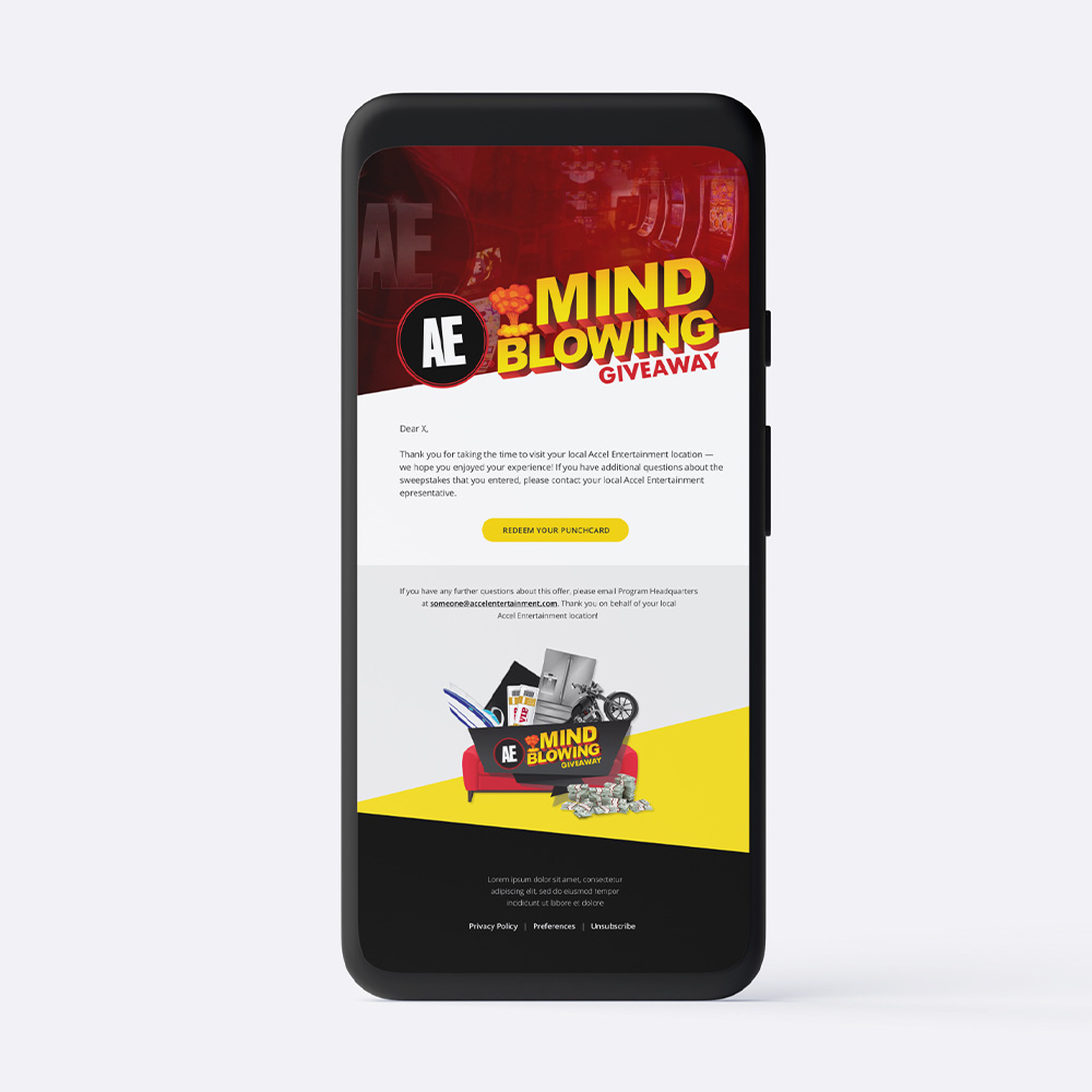 Mind Blowing Giveaway email shown on iPads